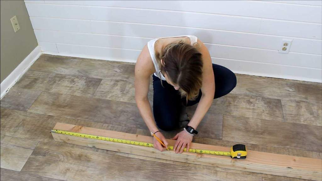 step 1 measure and cut the wood - Farmhouse Kitchen Table