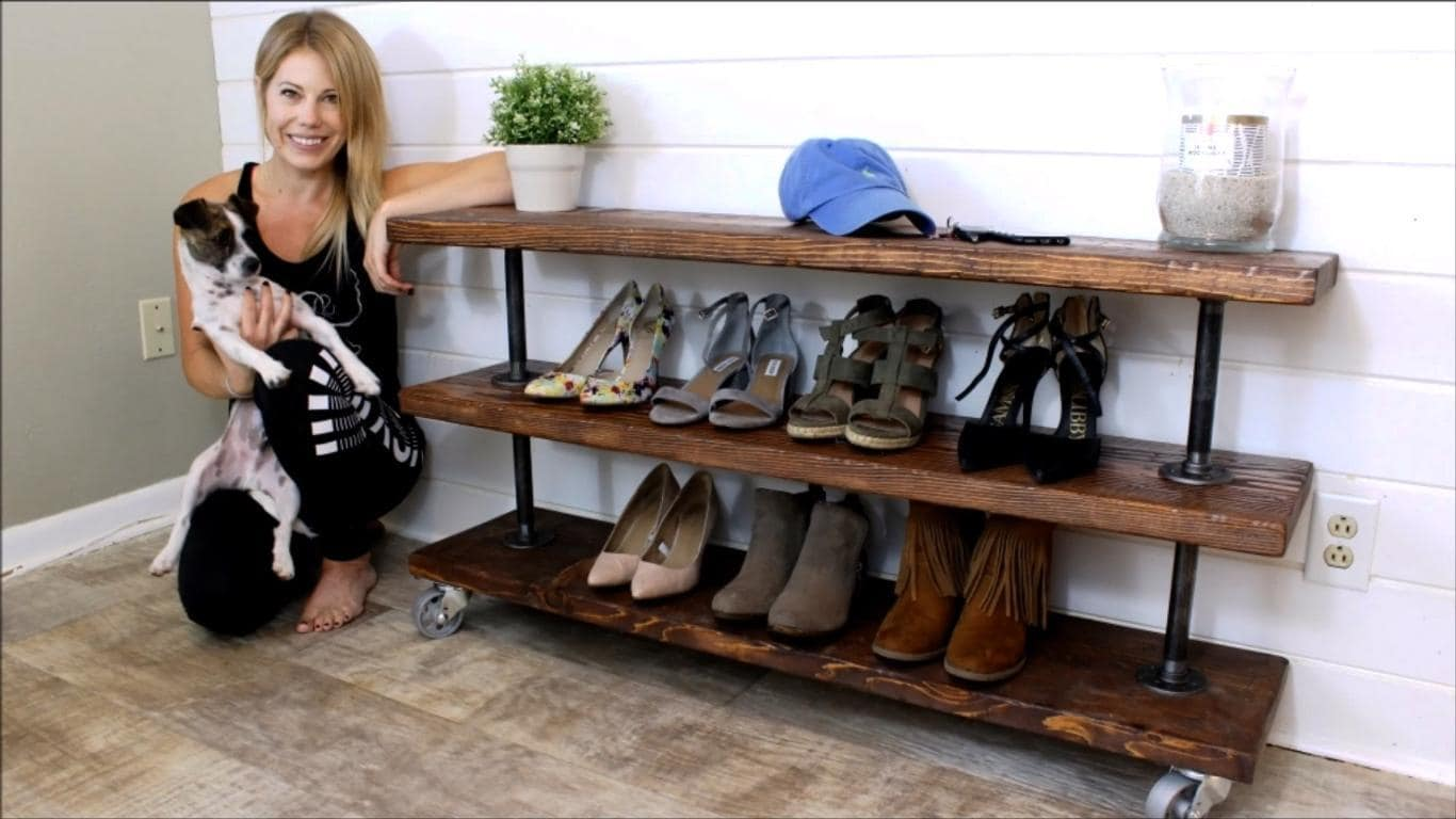 Build A Diy Rustic Industrial Shoe Storage Shelving Unit