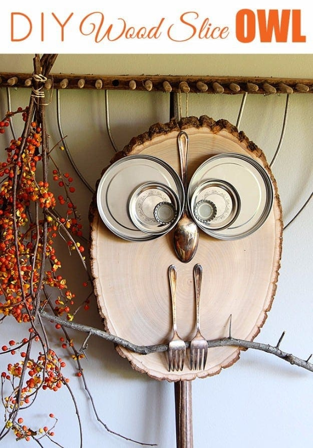 wood slice owl