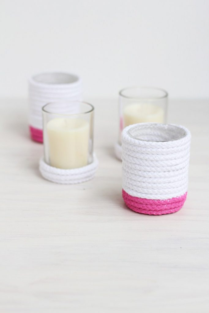 DIY Painted Rope Votives