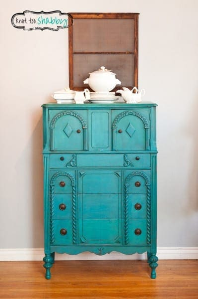 DIY Gorgeous Blue Antique Dresser