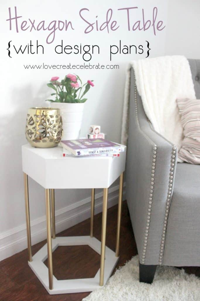 Modern Metal with Wood Hexagon Side Table