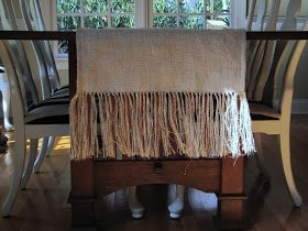 End Fringed Burlap Table Runner