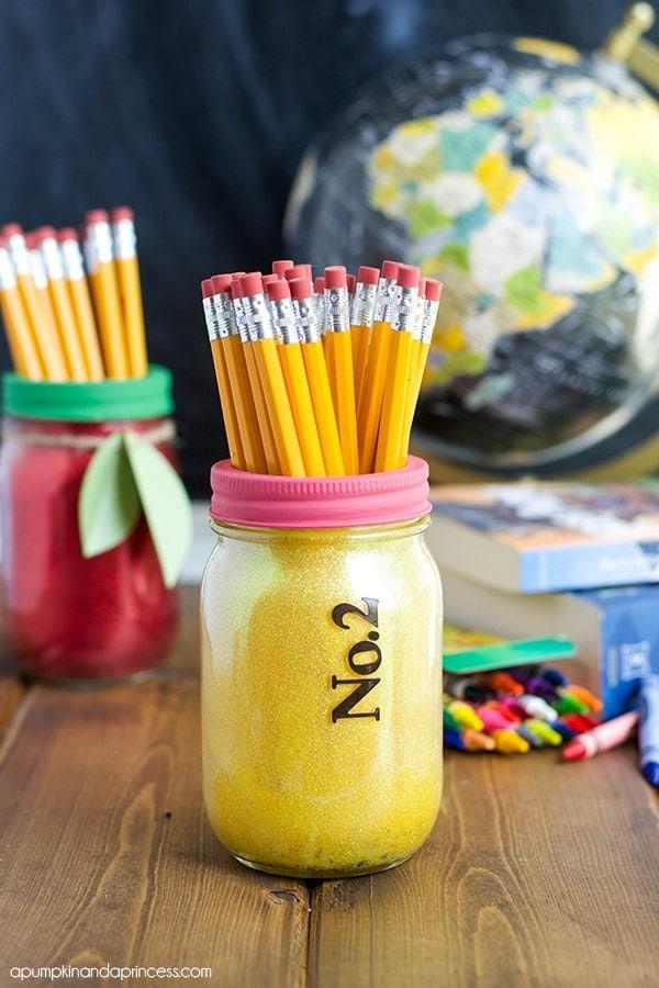 Pencil Glitter Mason Jars