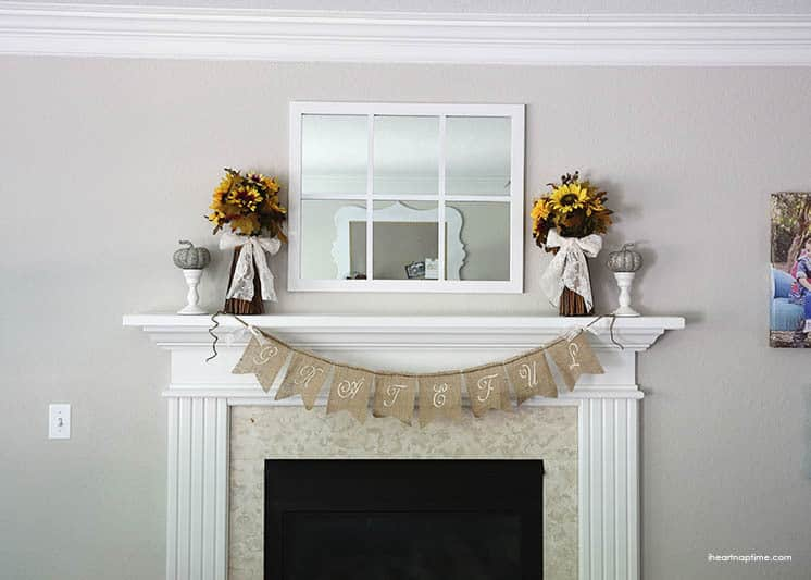 DIY Burlap Banner for Mantle