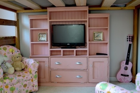 Distressed Pink Entertainment Center
