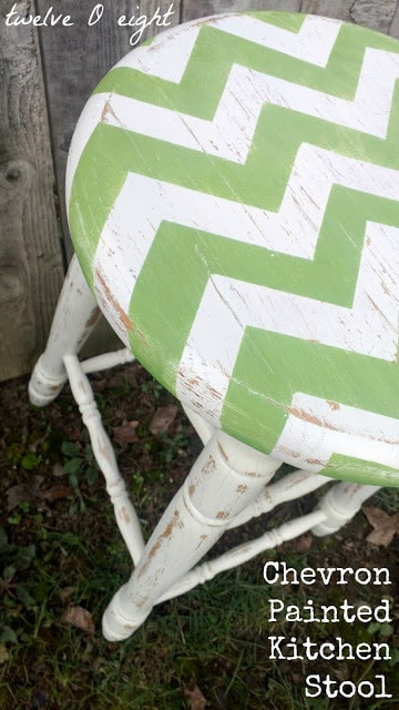 Distressed Chevron Barstool