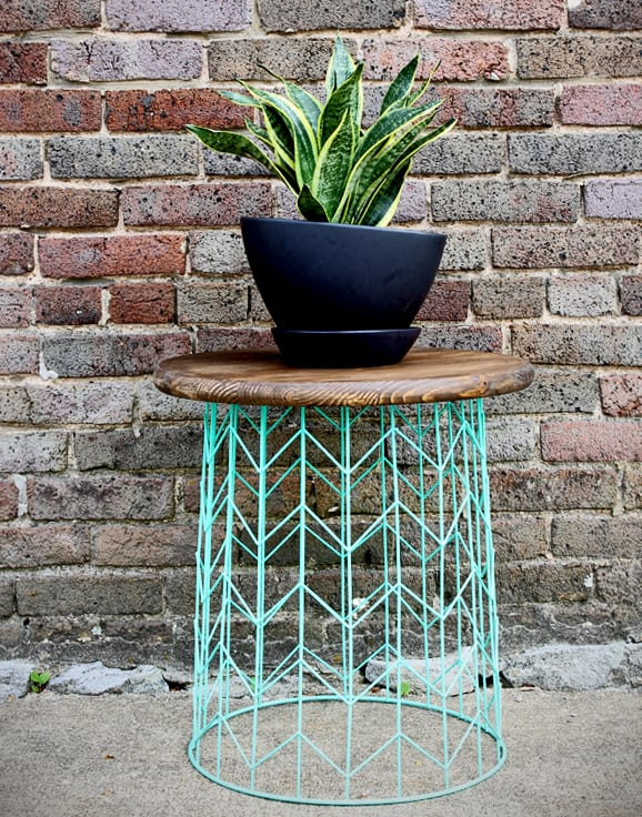 Repurposed Wire Basket End Table