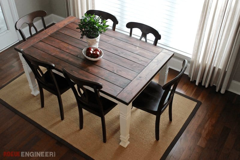 Wood Top and White Legs Farmhouse Table