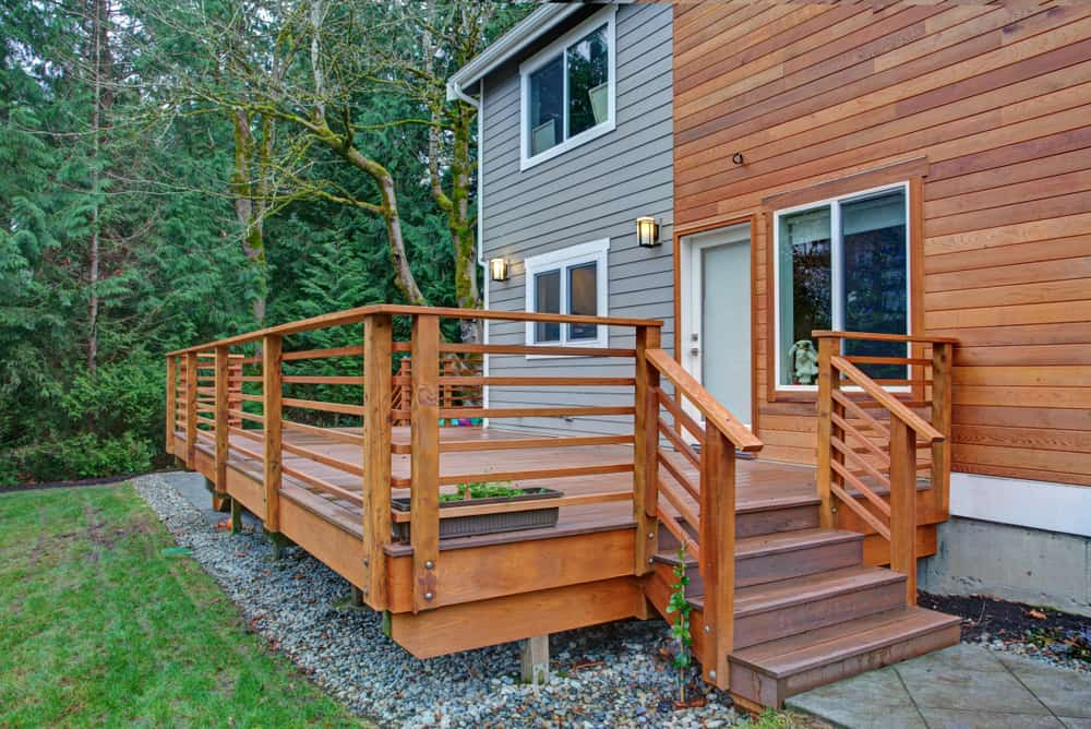 wood railing with steps