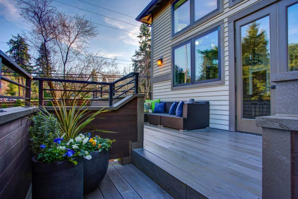multi level grey wood deck
