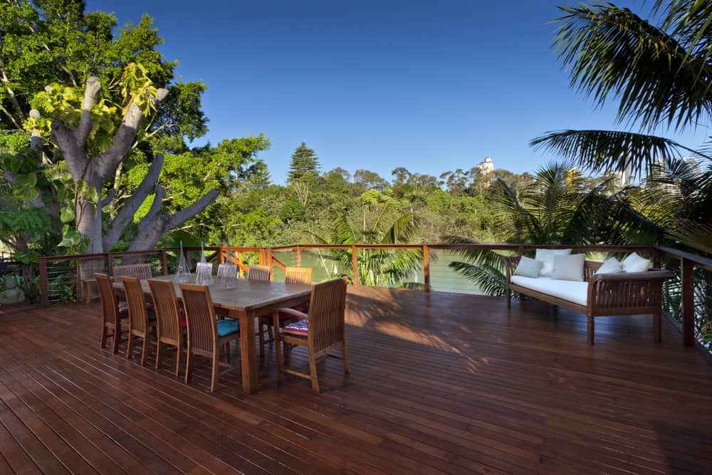 wood deck and dining