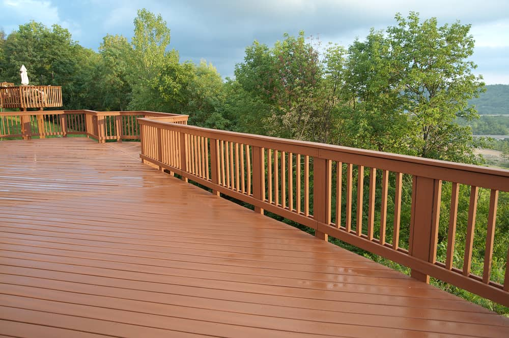 long polished wood deck