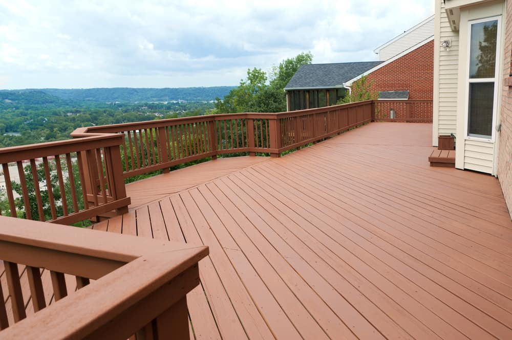 simple red wood deck