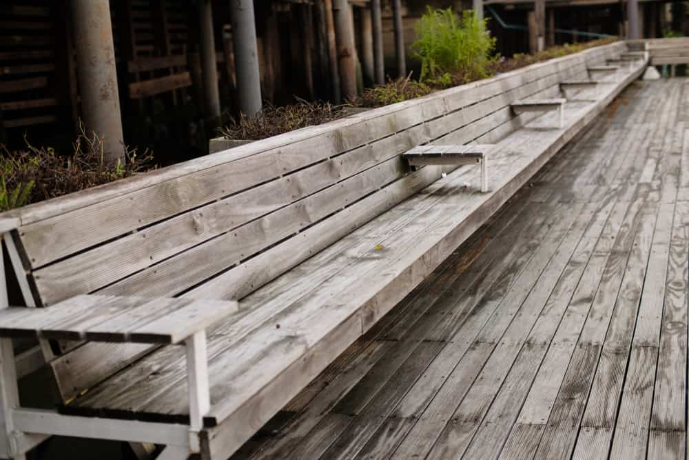 grey wood bench