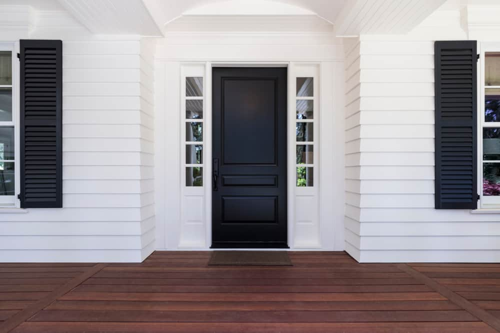minimalist porch white black wood