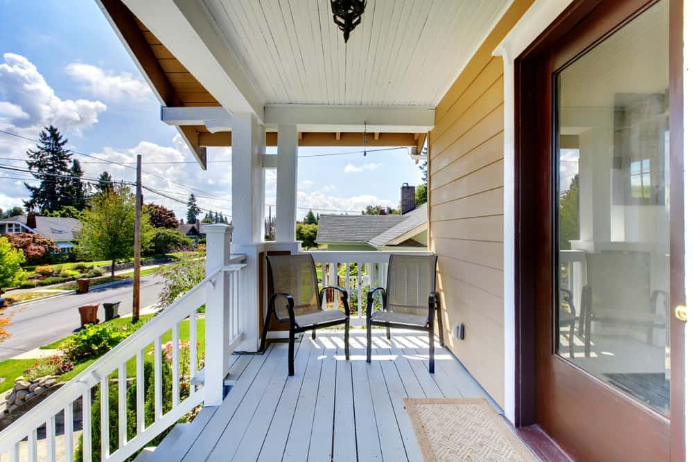 porch chairs white railing