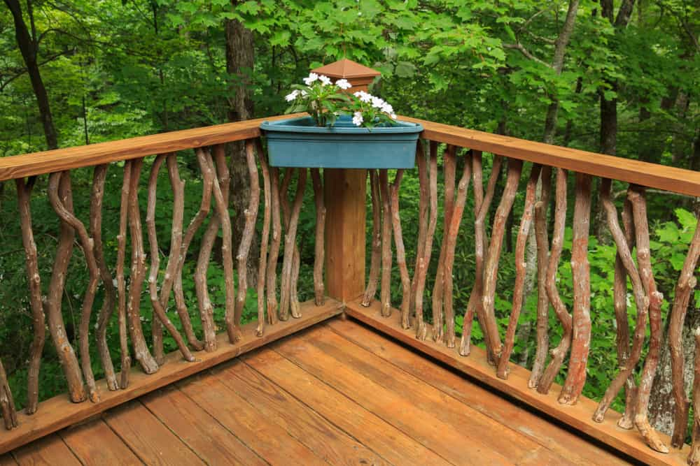 natural wood railing