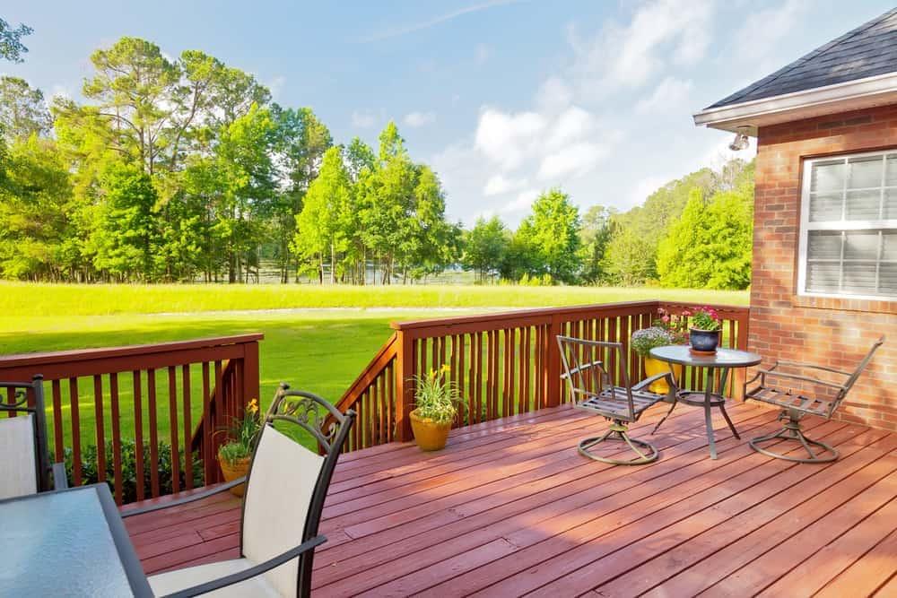 raised wood deck metal chairs