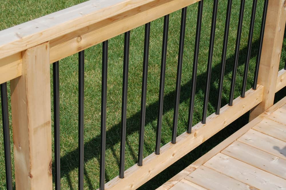 wood and iron combination railing