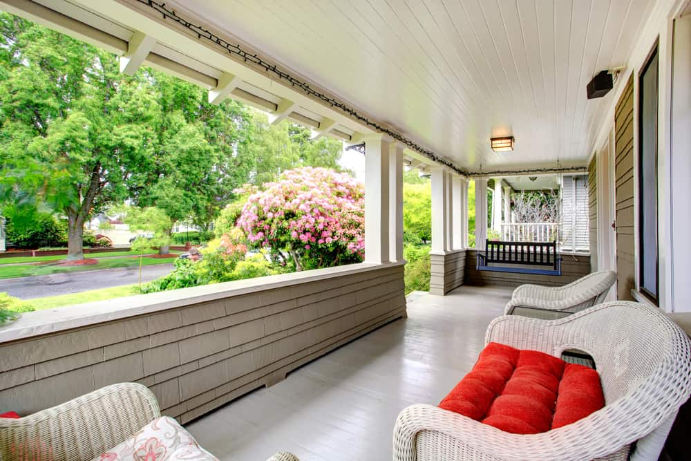 modern vintage red black porch