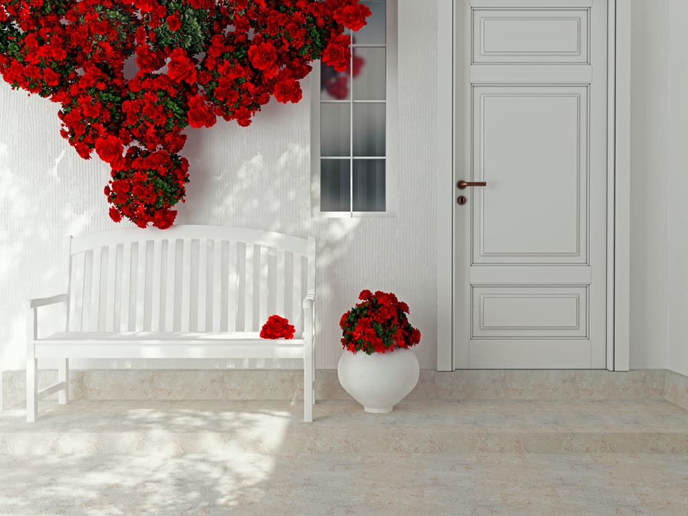romantic red and white porch