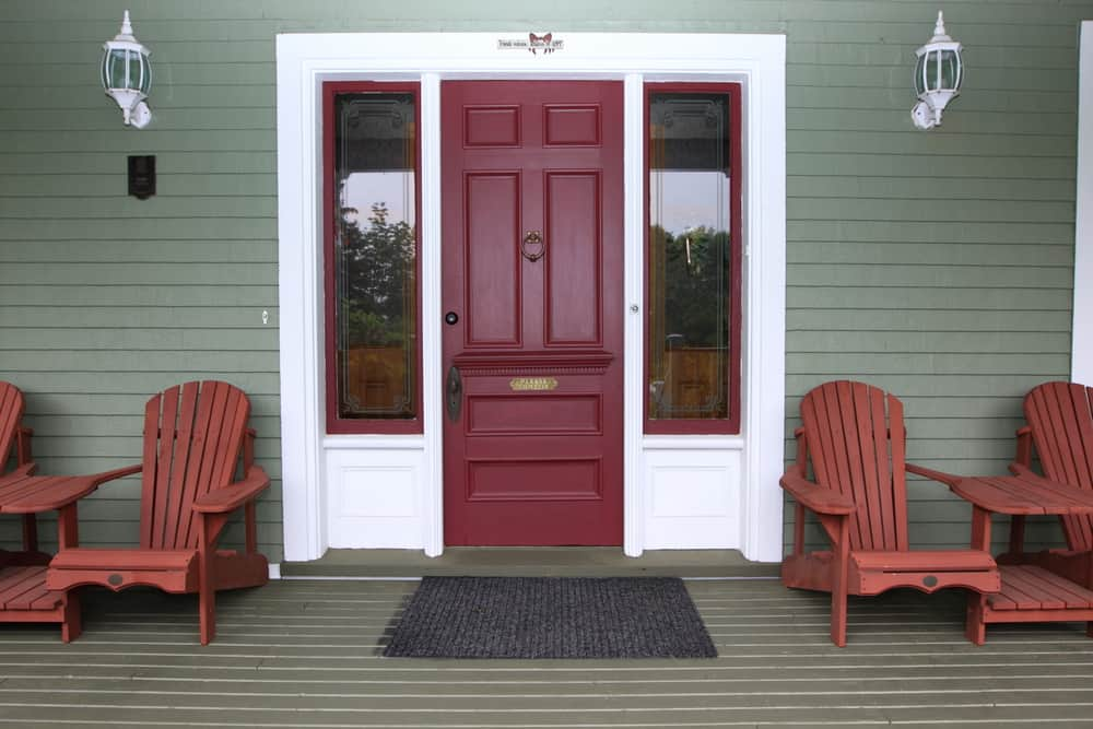 red maroon porch details