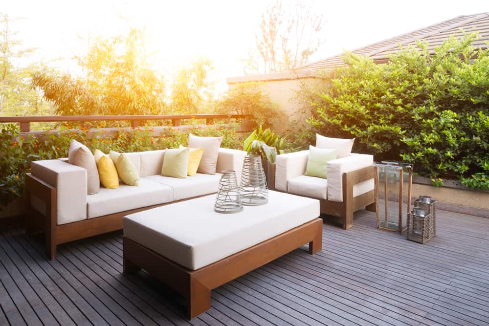 white and wood deck furniture
