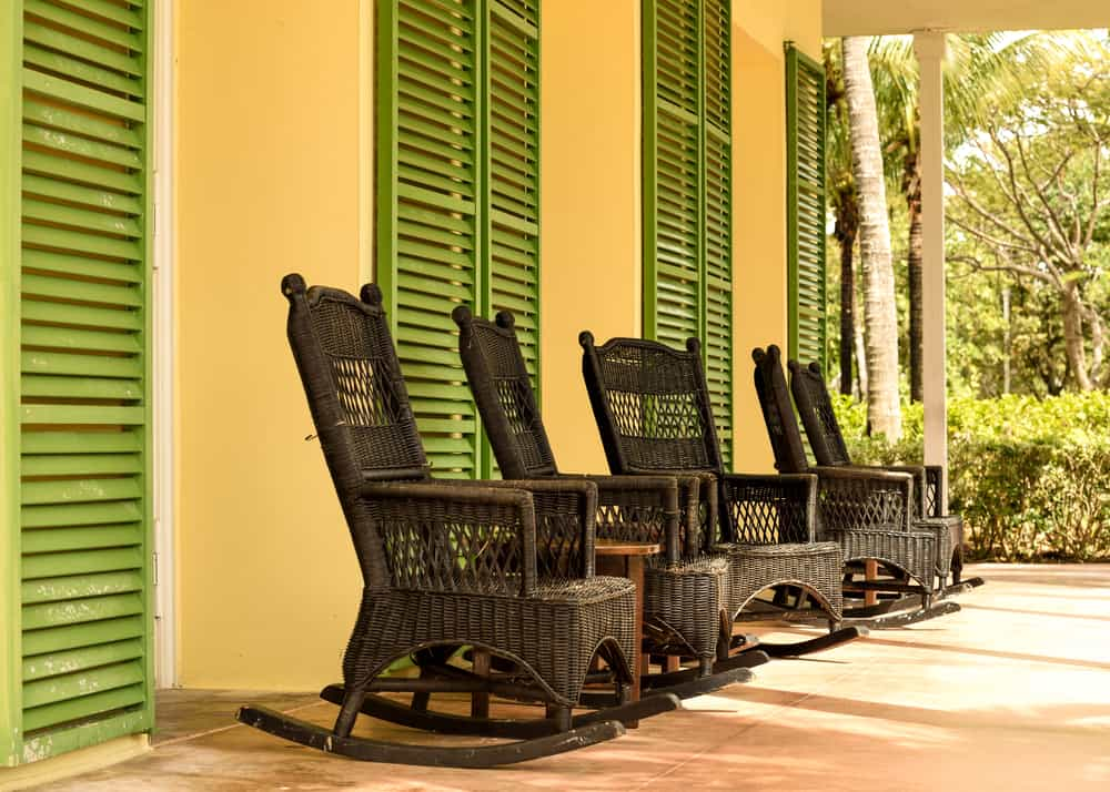 dark wicker rocking chairs