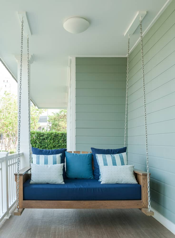 blue porch swing pillows