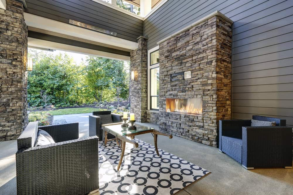 geometric brick textured fireplace