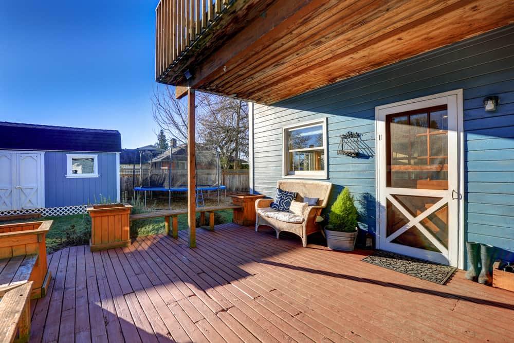 double wood deck