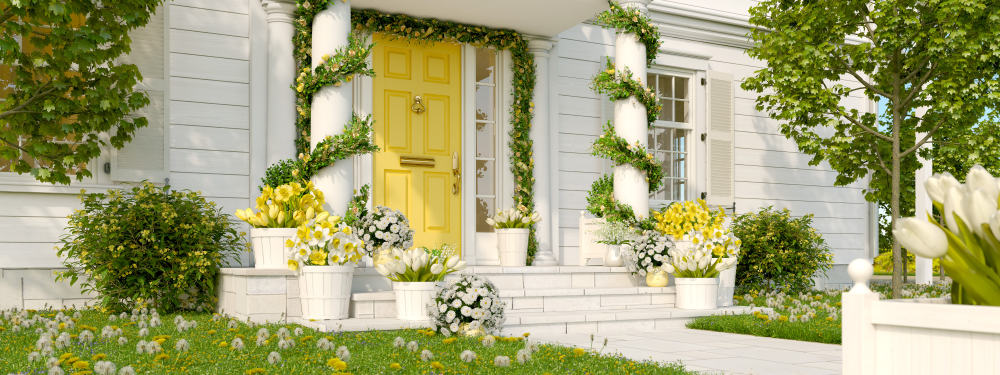 yellow door flowers columns