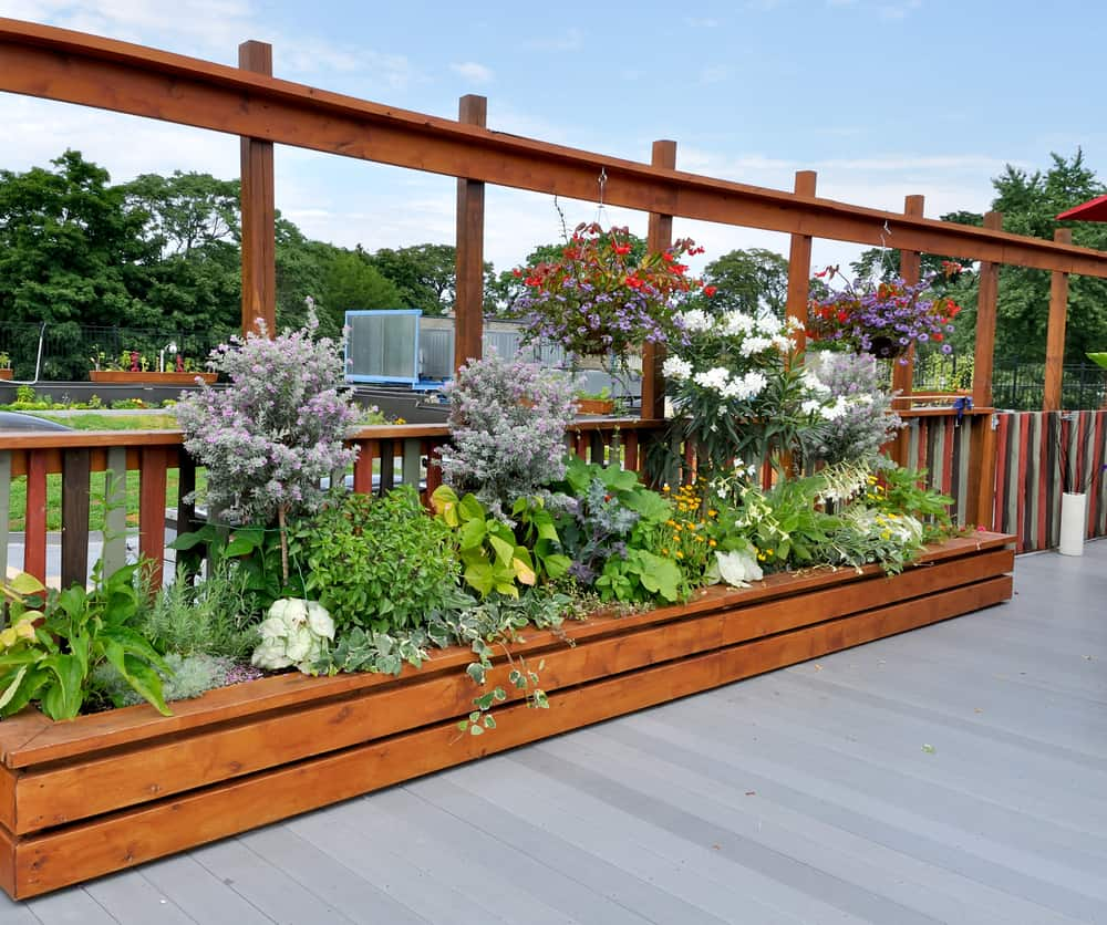 half wall raised deck garden