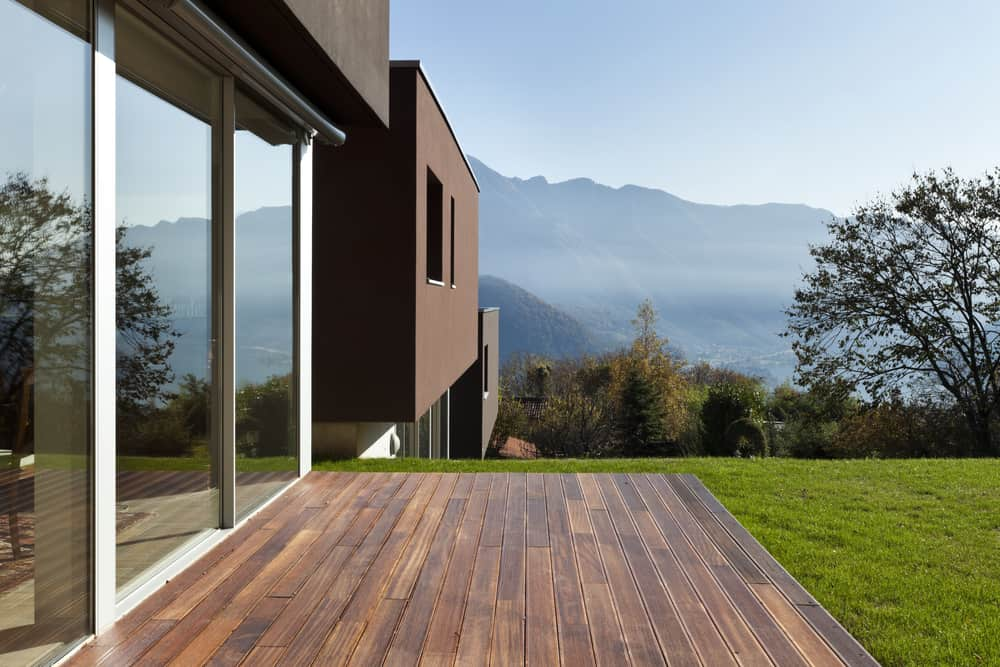 small dark wood deck