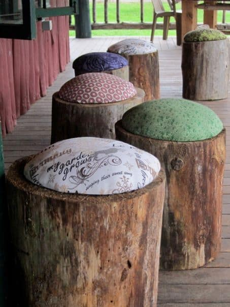 DIY Wood Stools Who knew you could turn a tree stump into a stunning wooden stool? This project is practically genius! The stools will look great if you make several and place them all over your deck or patio. Farmhouse style stools are certainly going to be a hit among your friends.thesawguy.com