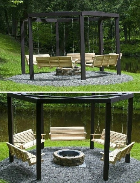 DIY Swings Around Campfire How fun will it be to spend the evening gathered around the campfire on DIY swings? Roast marshmallows and hotdogs while enjoying the great outdoors. Plus, you can swing for hours. Your house is going to turn into the go-to spot for barbecues!thesawguy.com