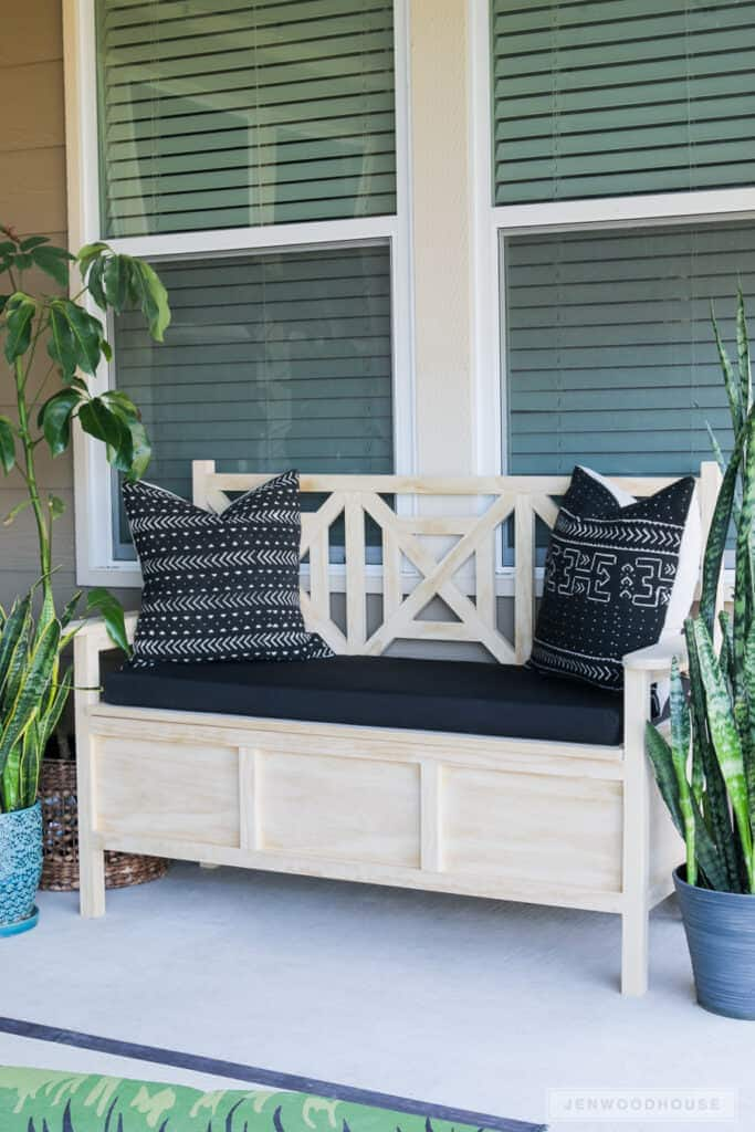 DIY Outdoor Storage Bench It is so convenient to build furniture that also is a storage solution all in one. That is exactly what you get with this DIY outdoor storage bench. Not only does this look fabulous it isn't hard to make either. You can stain the wood or paint it so it will match your other furniture.thesawguy.com