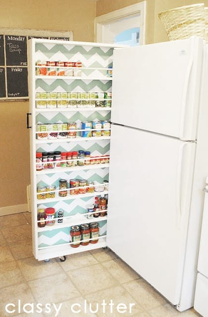 Canned Food Storage Idea If your home doesn't have tons of cabinet space or you are without a pantry, this canned food storage idea is what you need! This organizer fits terrific in tight spaces and is completely functional. This is a must see if you need more space to store canned goods.  thesawguy.com