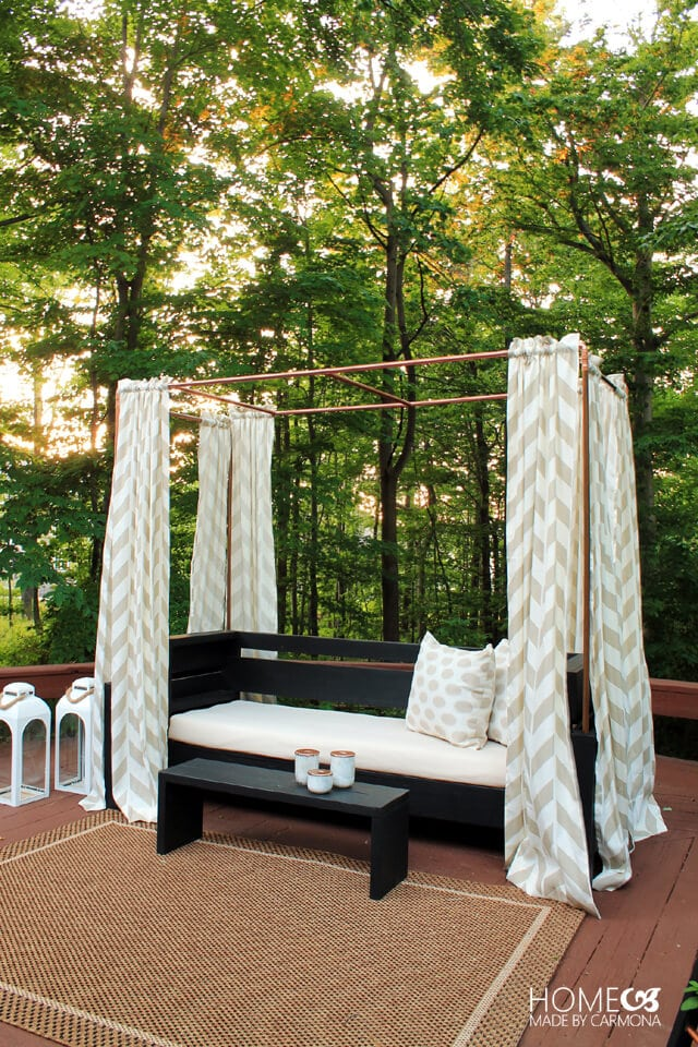 DIY Copper Cabana This stunning DIY copper cabana will add an ambiance that makes you feel like you are on vacation! You can customize your cabana to fit your deck, so it can be larger or smaller than the one they made. The finished result looks like a million bucks, but in reality, it is very inexpensive to make! thesawguy.com
