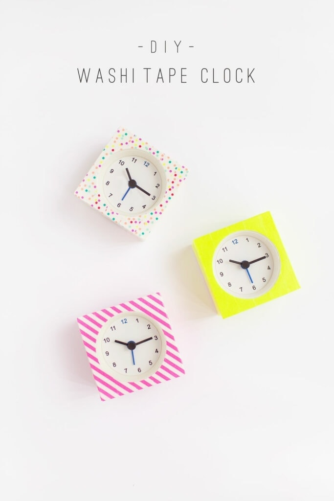 DIY Washi Tape Clocks It is amazing how many ways you can use washi tape. Take a look at these DIY washi tape clocks! These not only look terrific, but your friends and family would also love to receive them as gifts too! thesawguy.com