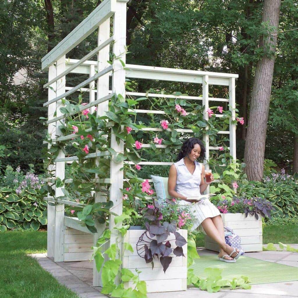 DIY Arbor With Built-In Benches Your backyard is going to be so beautiful and you will have a lot of additional seating when you make this arbor with built-in benches. Use climbing plants for a pop of vibrant color. I know it looks like a lot of work, but it is surprisingly easy to make.thesawguy.com