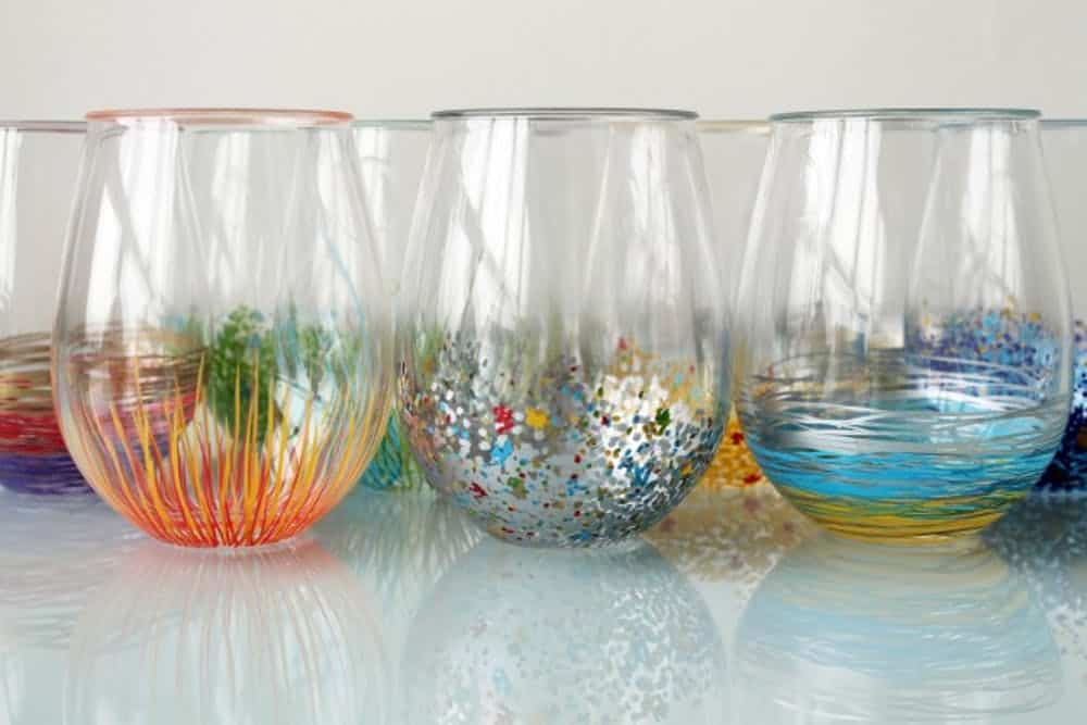 Colorful Glassware  Forget your typical wine glasses! Add some character and pizzazz to your stemless wine glasses by adding a punch of color. These wine glasses will be great for your next party too. thesawguy.com