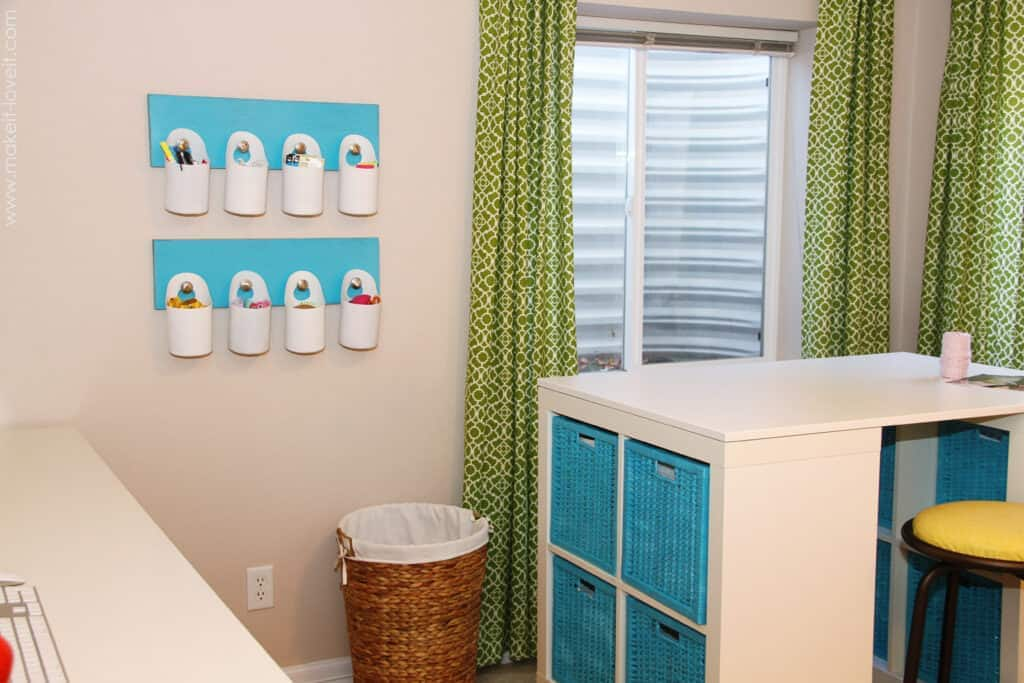 Hanging Bins Turn trash into a creative storage solution by using recycled containers. The hanging bins are great for your garage, craft room, playroom or even your laundry room. Store everything from baby wipes to buttons! thesawguy.com
