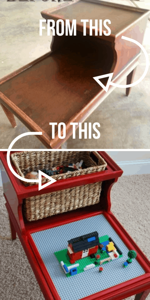 Custom Lego table for your play room - These furniture hacks will turn outdated and old furniture into treasured pieces. From little to no money you can have creative furniture statements throughout your home. thesawguy.com
