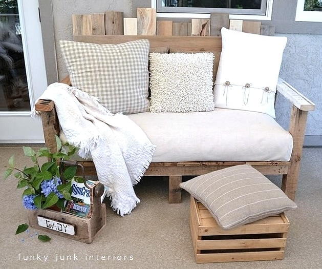 Pallet Wood Sofa Build your own pallet wood sofa and you will have a terrific outdoor entertaining area. It is easy to make and comfy to sit on as well. The instructions are very detailed which will make it simple for you to replicate. Add some vibrant throw pillows and some potted plants.thesawguy.com