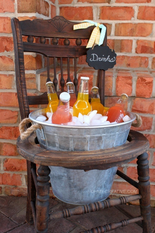 Vintage Chair Drink Stand Repurpose an old vintage chair into a new summer drink stand! The look and style of this drink stand is terrific for all your backyard entertaining. Barbecues and picnics will be even more fun! Add your favorite beverages and some ice and you are ready to party! thesawguy.com