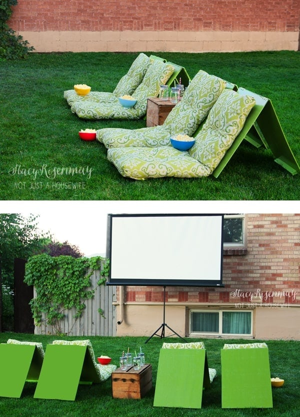 Outdoor Movie Theater Seats Relax under the stars watching a summer movie on these awesome movie theater seats. There is nothing better than having the family together and being outside. This is a win-win combination! Grab the popcorn and treats because you are going to love this idea! thesawguy.com