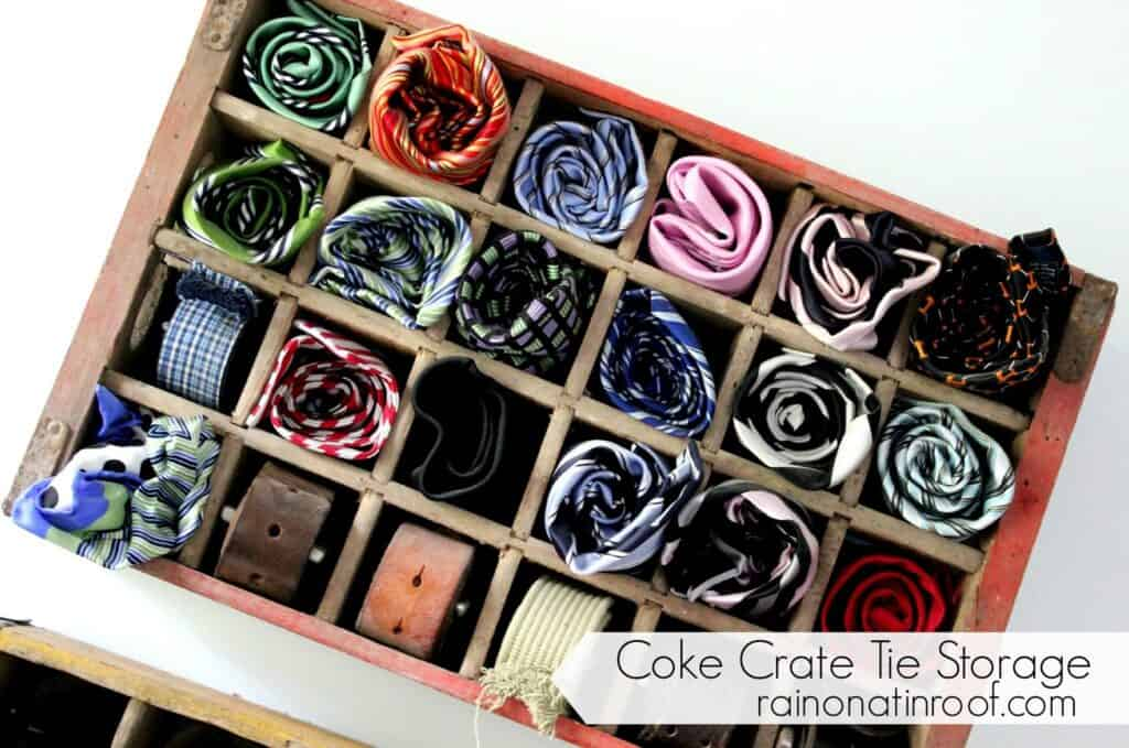 Coke Crate Tie Organizer Have a bunch of ties and aren't sure where to store them? Look no further because this Coke crate tie organizer is downright epic! No more hanging them on hangers and having them fall on the floor. Plus, if you want to be really organized you can color code them.