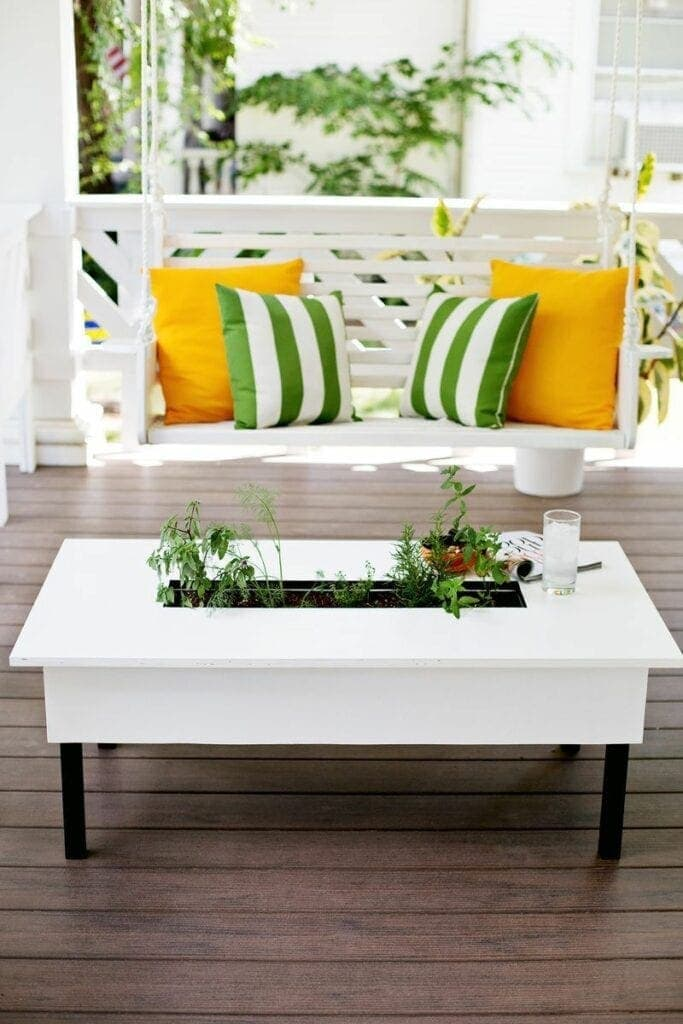 DIY Coffee Table With Herb Garden Your friends and family will be envious when you show them this unique coffee table with an herb garden. The best part is you will have all of your favorite herbs right at your fingertips too. This is seriously one of the coolest pieces to add to your patio.thesawguy.com